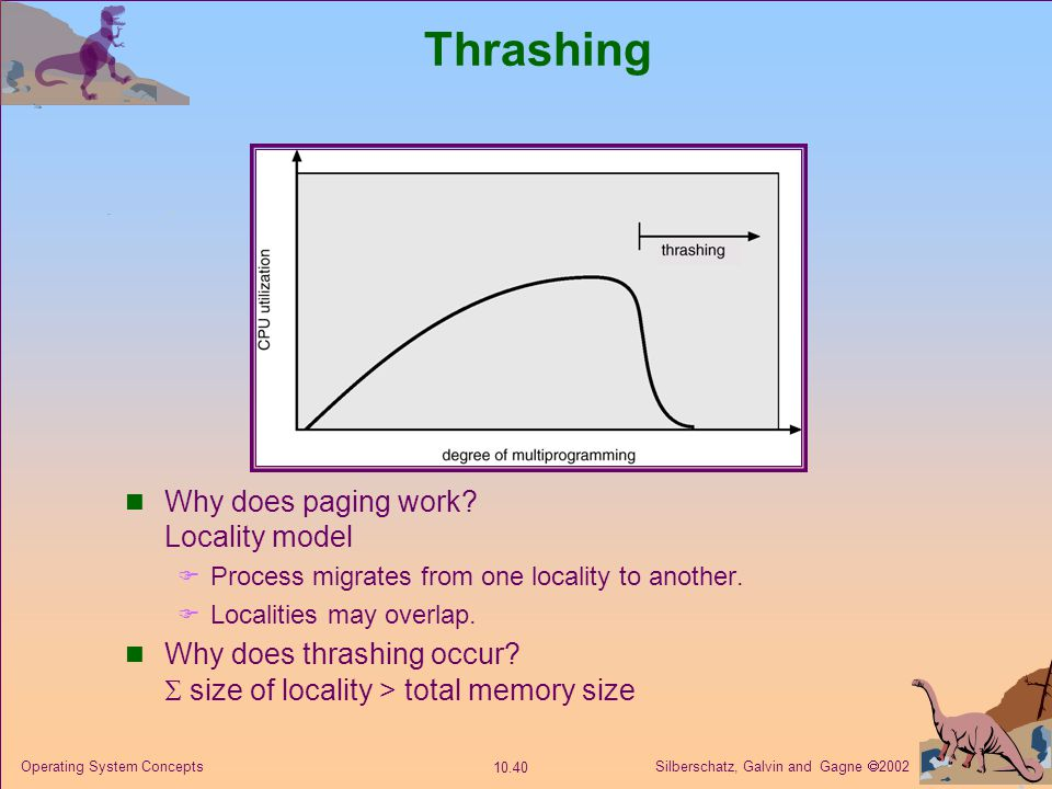Thrashing Why does paging work Locality model