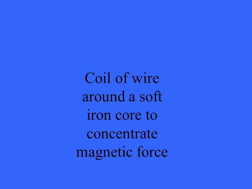 Coil of wire around a soft iron core to concentrate magnetic force