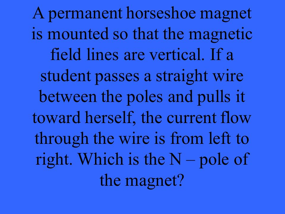 A permanent horseshoe magnet is mounted so that the magnetic field lines are vertical.
