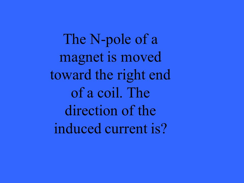 The N-pole of a magnet is moved toward the right end of a coil