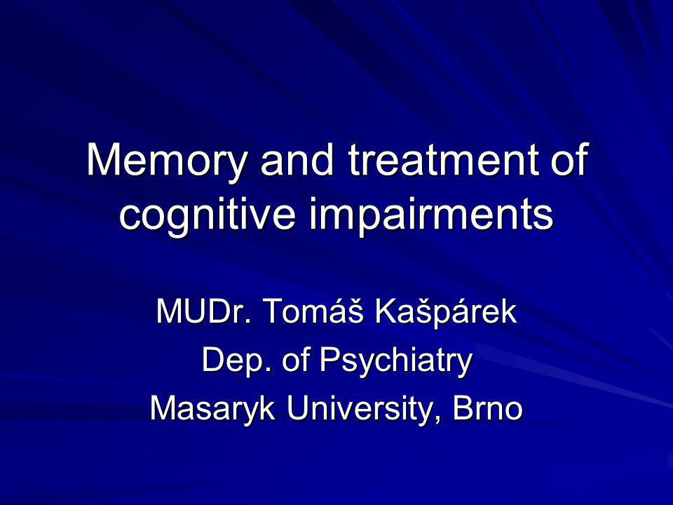 Memory and treatment of cognitive impairments