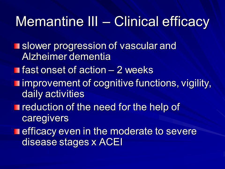 Memantine III – Clinical efficacy