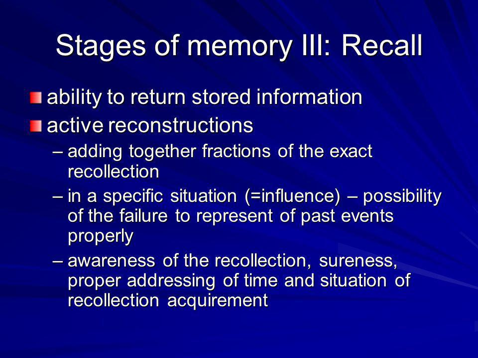 Stages of memory III: Recall