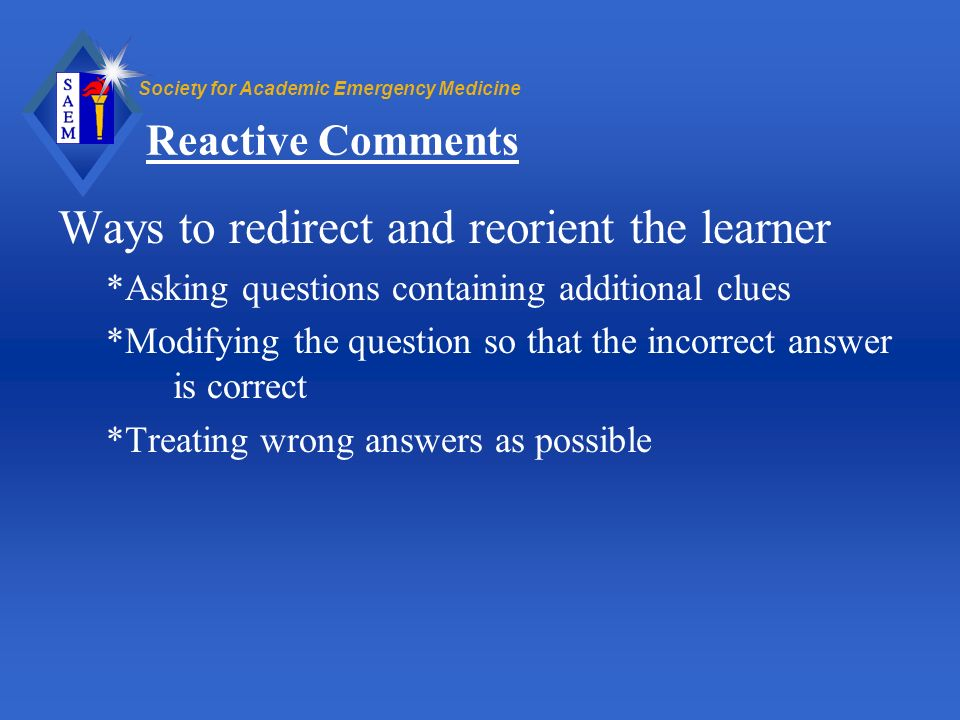 Ways to redirect and reorient the learner