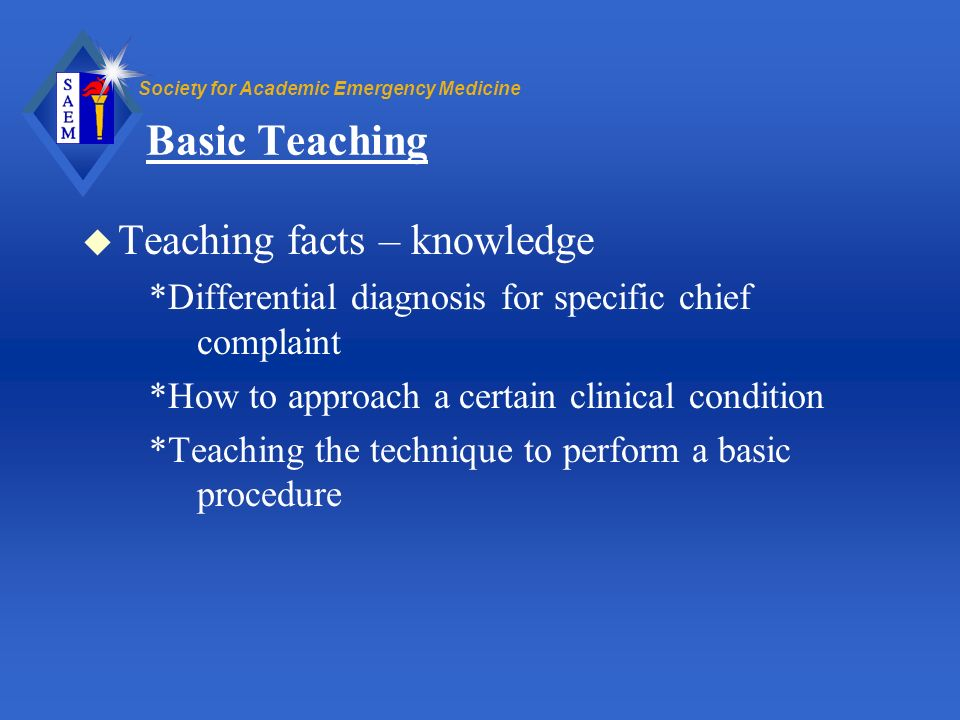 Basic Teaching Teaching facts – knowledge