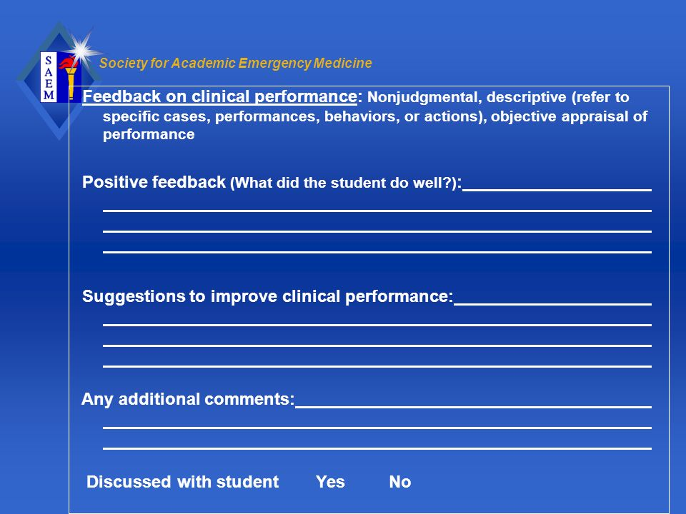 Feedback on clinical performance: Nonjudgmental, descriptive (refer to