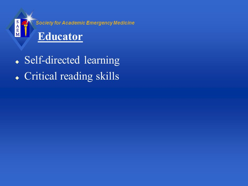 Educator Self-directed learning Critical reading skills