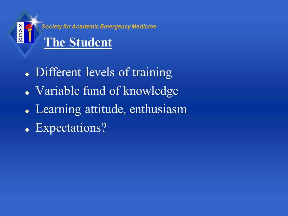 The Student Different levels of training Variable fund of knowledge