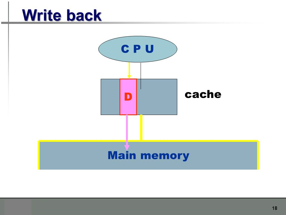 Write back C P U D cache Main memory