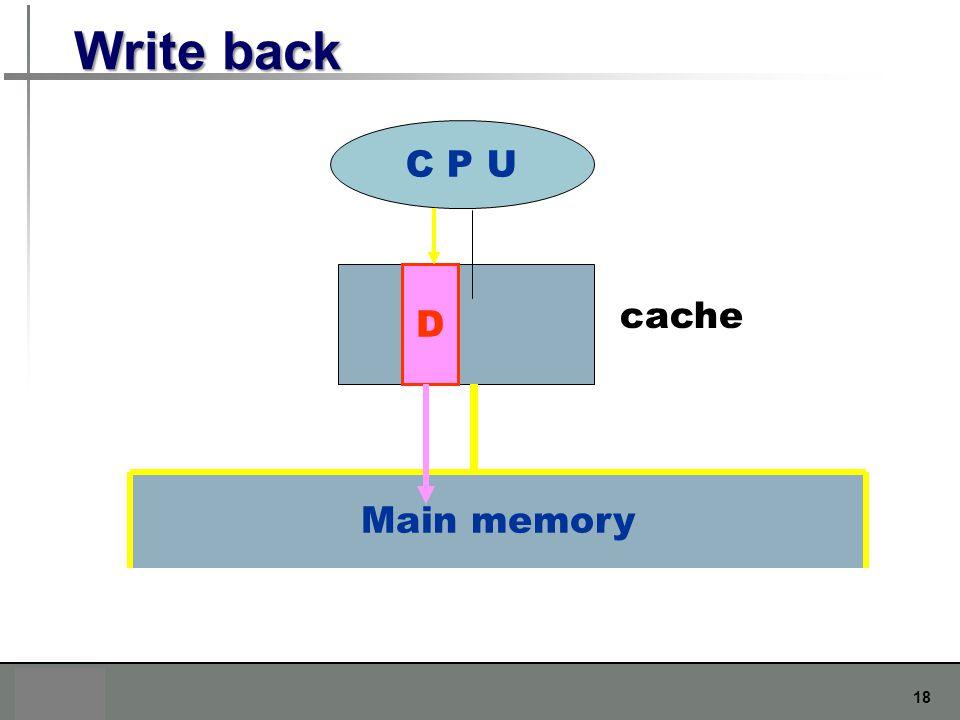 Write back C P U D cache Main memory