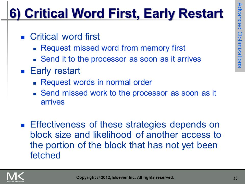 6) Critical Word First, Early Restart