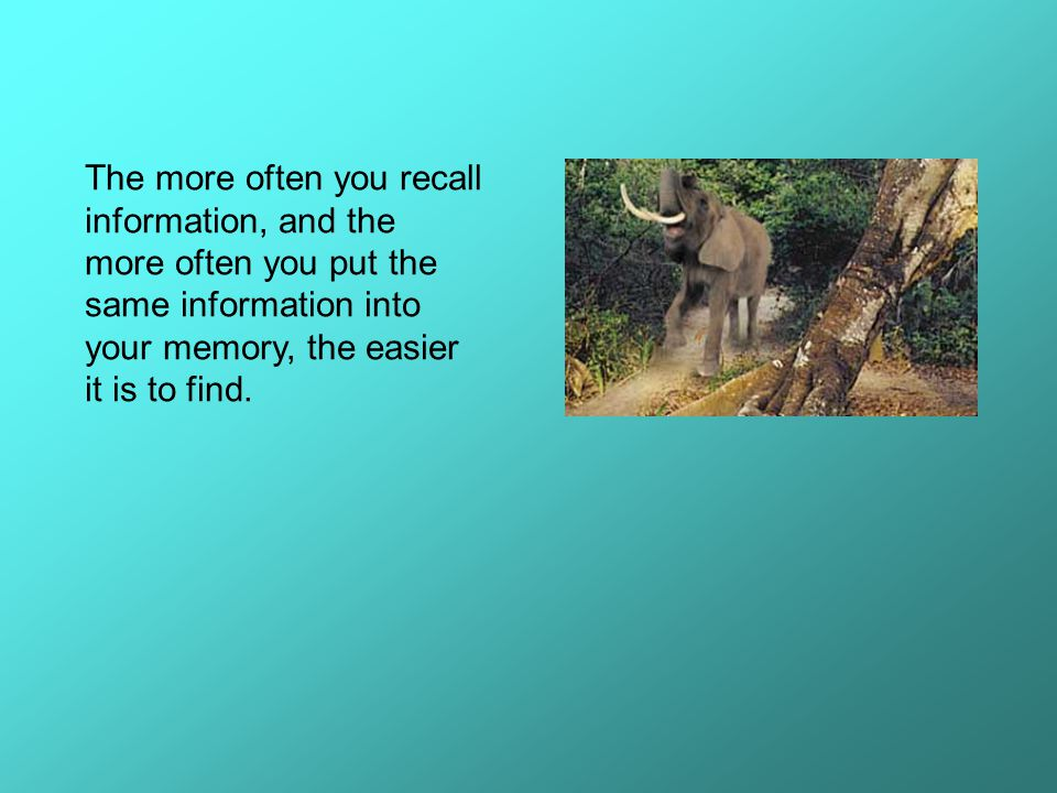 The more often you recall information, and the more often you put the same information into your memory, the easier it is to find.