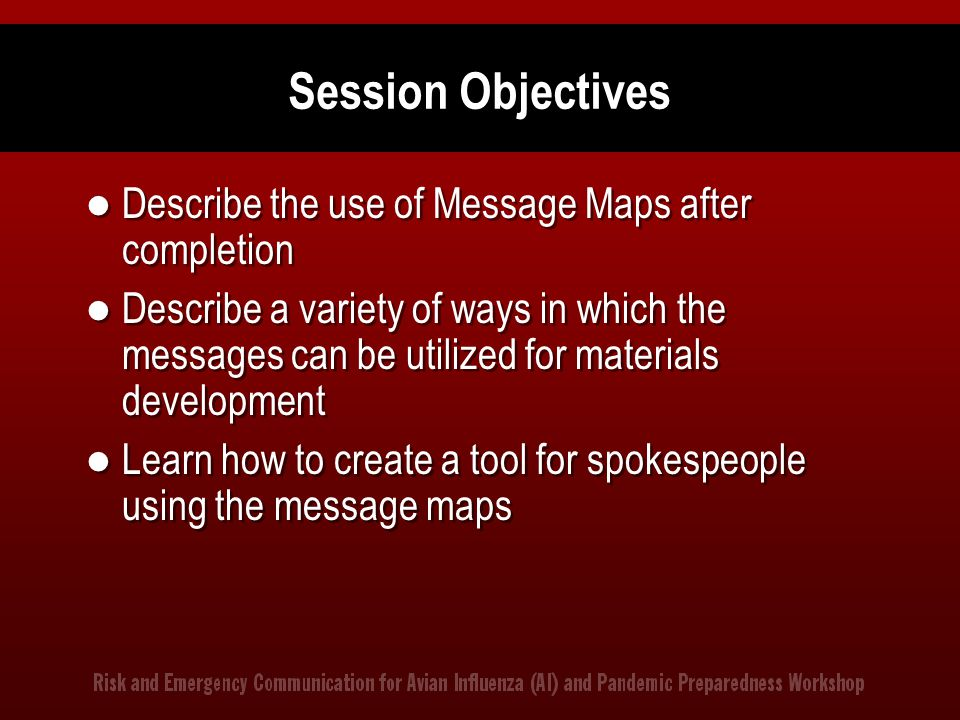 Session Objectives Describe the use of Message Maps after completion
