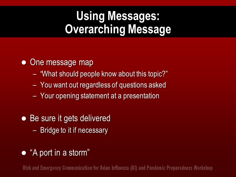 Using Messages: Overarching Message