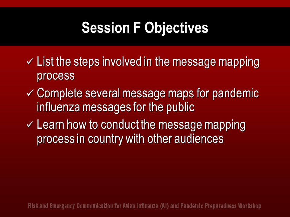 Session F Objectives List the steps involved in the message mapping process.