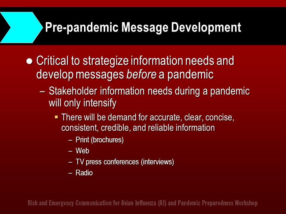 Pre-pandemic Message Development