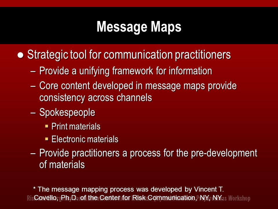 Message Maps Strategic tool for communication practitioners