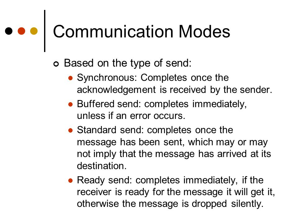 Communication Modes Based on the type of send: