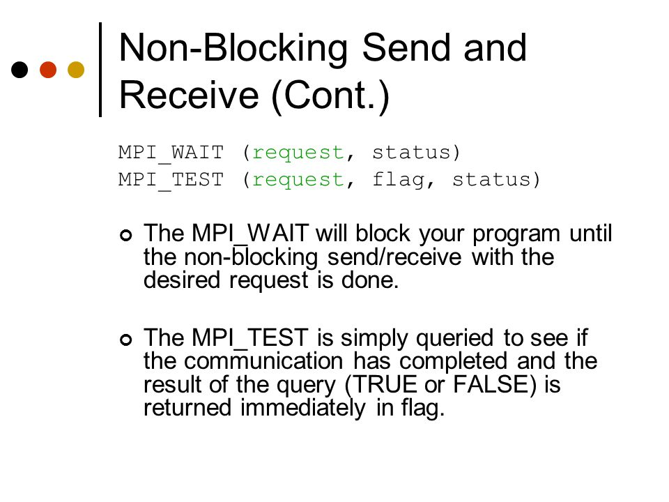 Non-Blocking Send and Receive (Cont.)