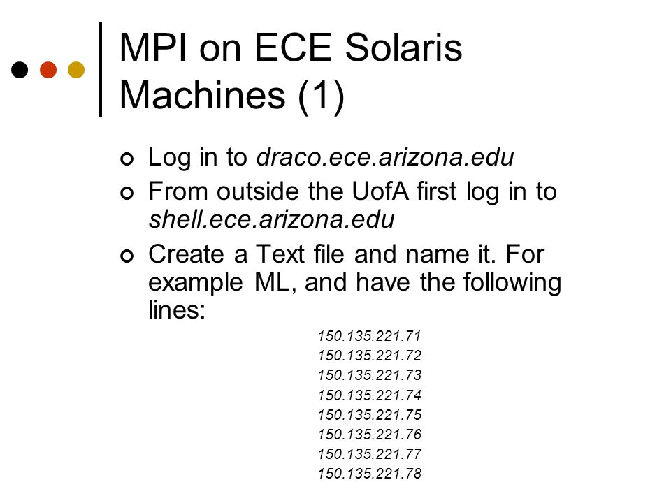 MPI on ECE Solaris Machines (1)