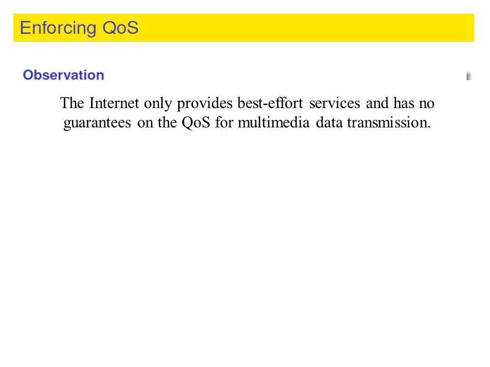 The Internet only provides best-effort services and has no guarantees on the QoS for multimedia data transmission.