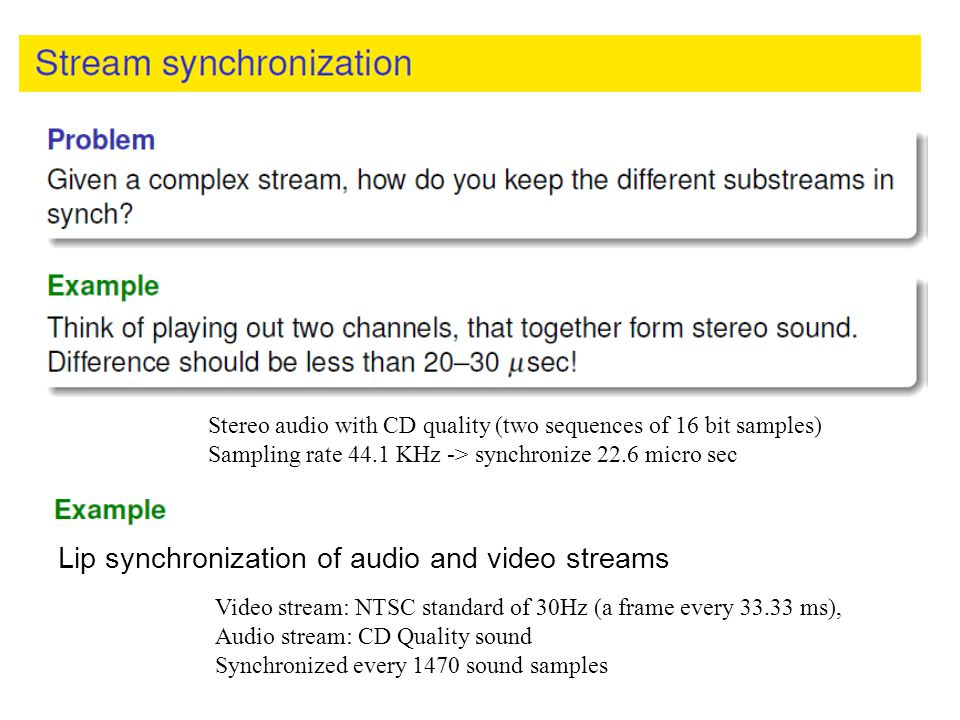 Lip synchronization of audio and video streams