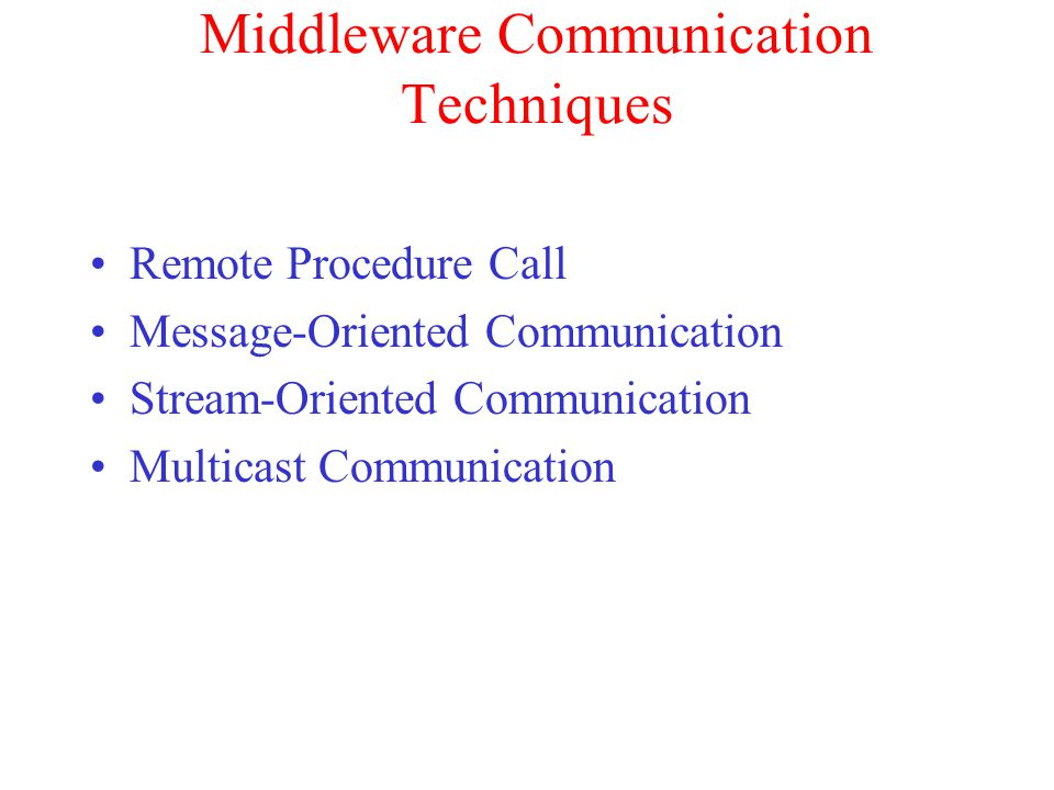 Middleware Communication Techniques