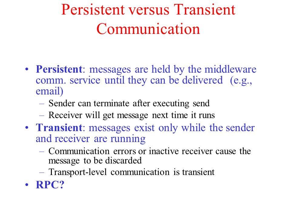 Persistent versus Transient Communication