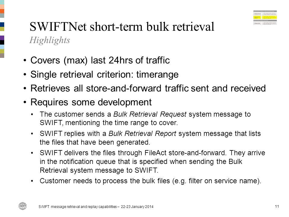 SWIFTNet short-term bulk retrieval Highlights