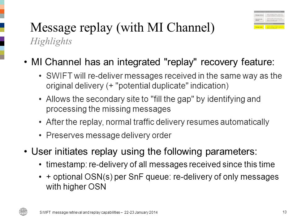 Message replay (with MI Channel) Highlights