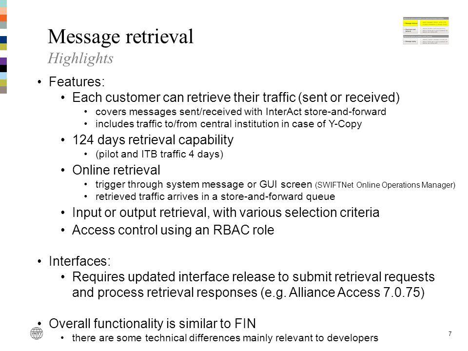 Message retrieval Highlights