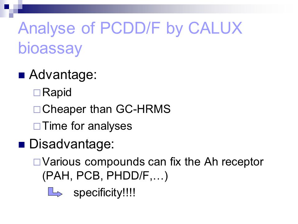 Analyse of PCDD/F by CALUX bioassay