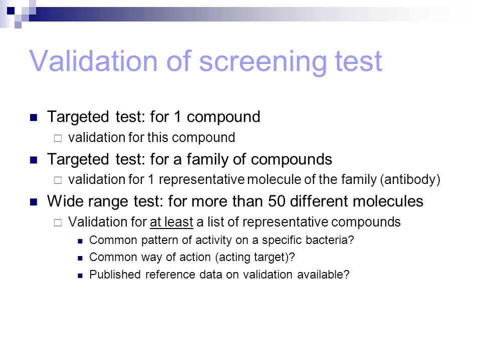 Validation of screening test