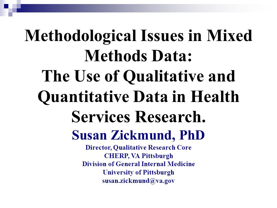Methodological Issues in Mixed Methods Data: