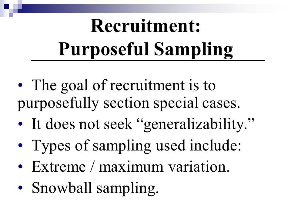 Recruitment: Purposeful Sampling