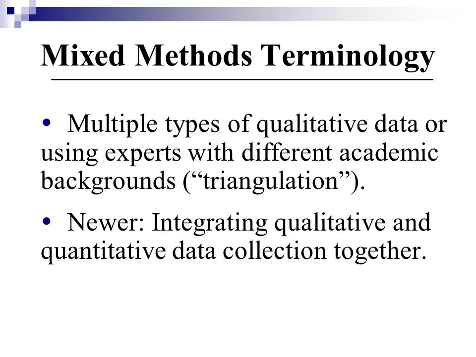 Mixed Methods Terminology