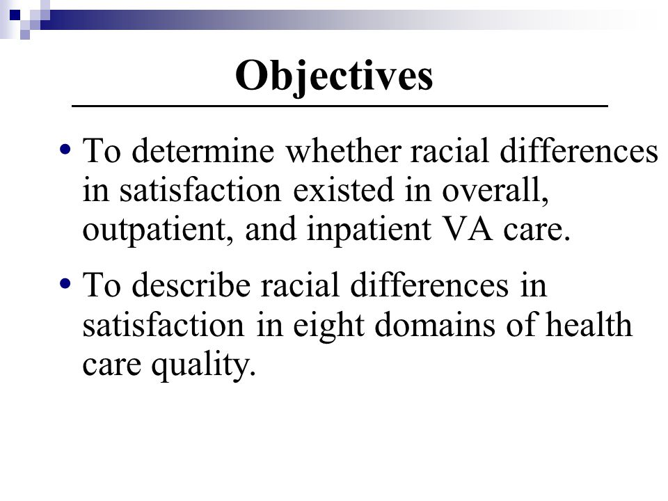 Objectives To determine whether racial differences in satisfaction existed in overall, outpatient, and inpatient VA care.