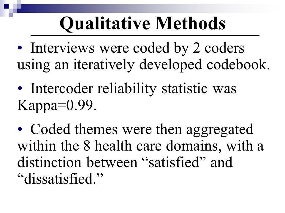 Qualitative Methods Interviews were coded by 2 coders using an iteratively developed codebook. Intercoder reliability statistic was Kappa=0.99.