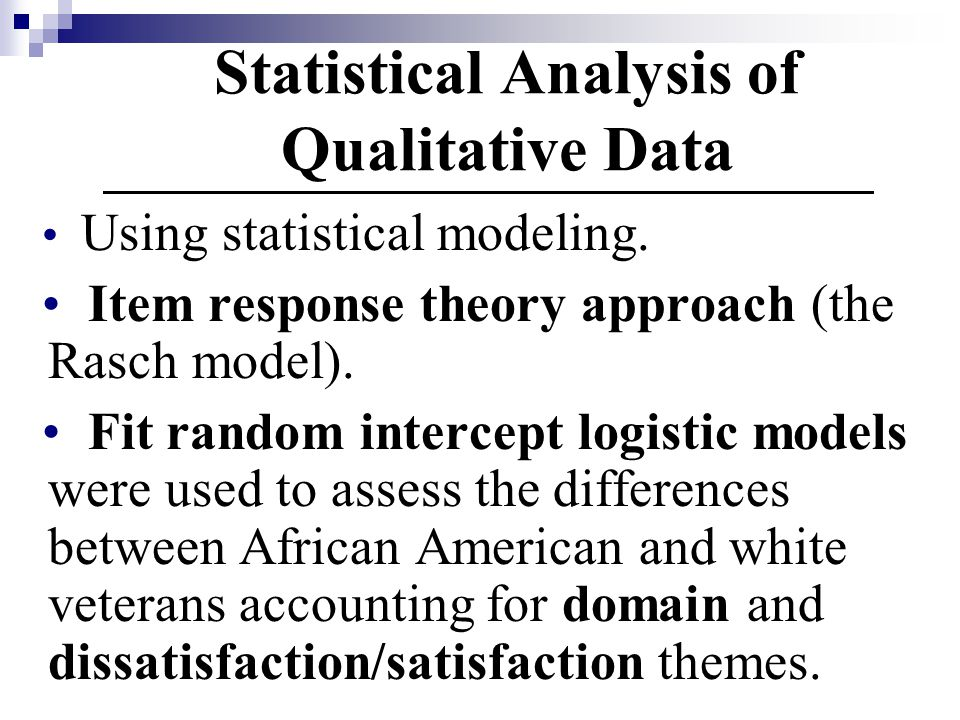 Statistical Analysis of Qualitative Data