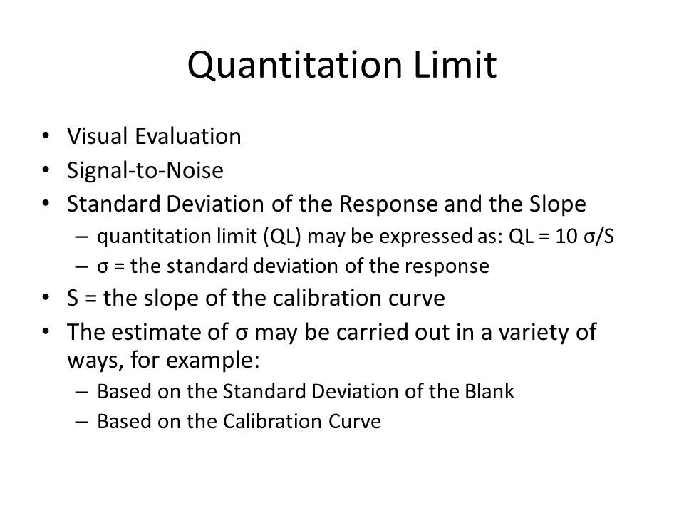 Quantitation Limit Visual Evaluation Signal-to-Noise