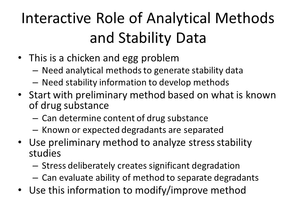 Interactive Role of Analytical Methods and Stability Data