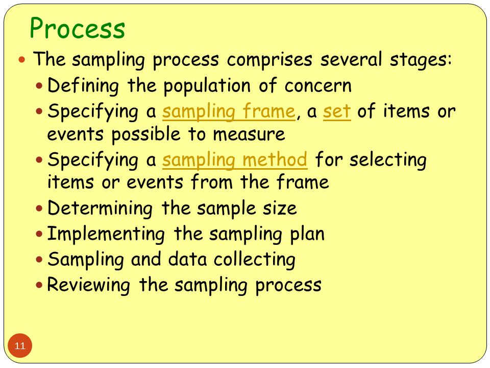 Process The sampling process comprises several stages: