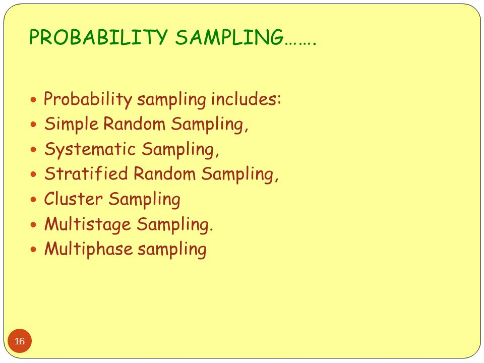 PROBABILITY SAMPLING…….