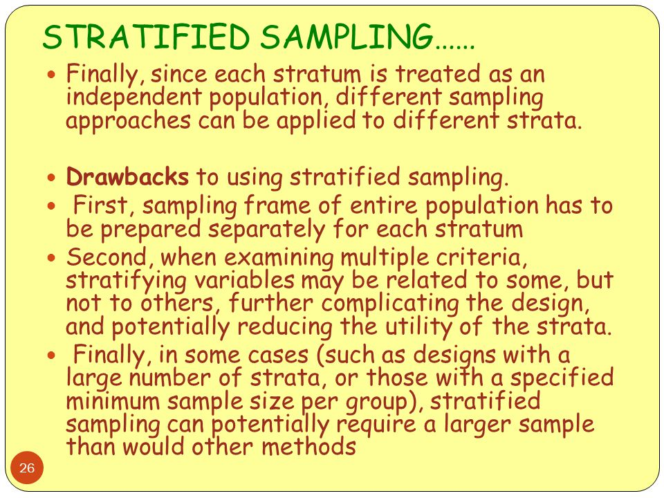 STRATIFIED SAMPLING……