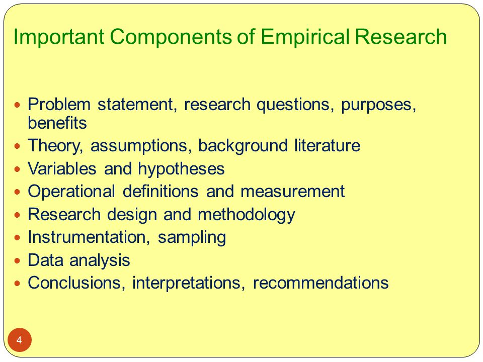 Important Components of Empirical Research