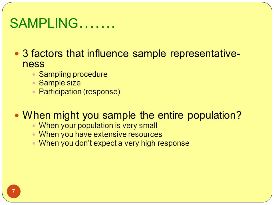 SAMPLING……. 3 factors that influence sample representative- ness