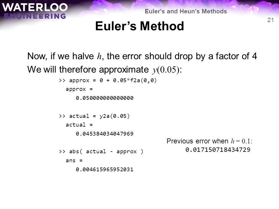 Euler s and Heun s Methods