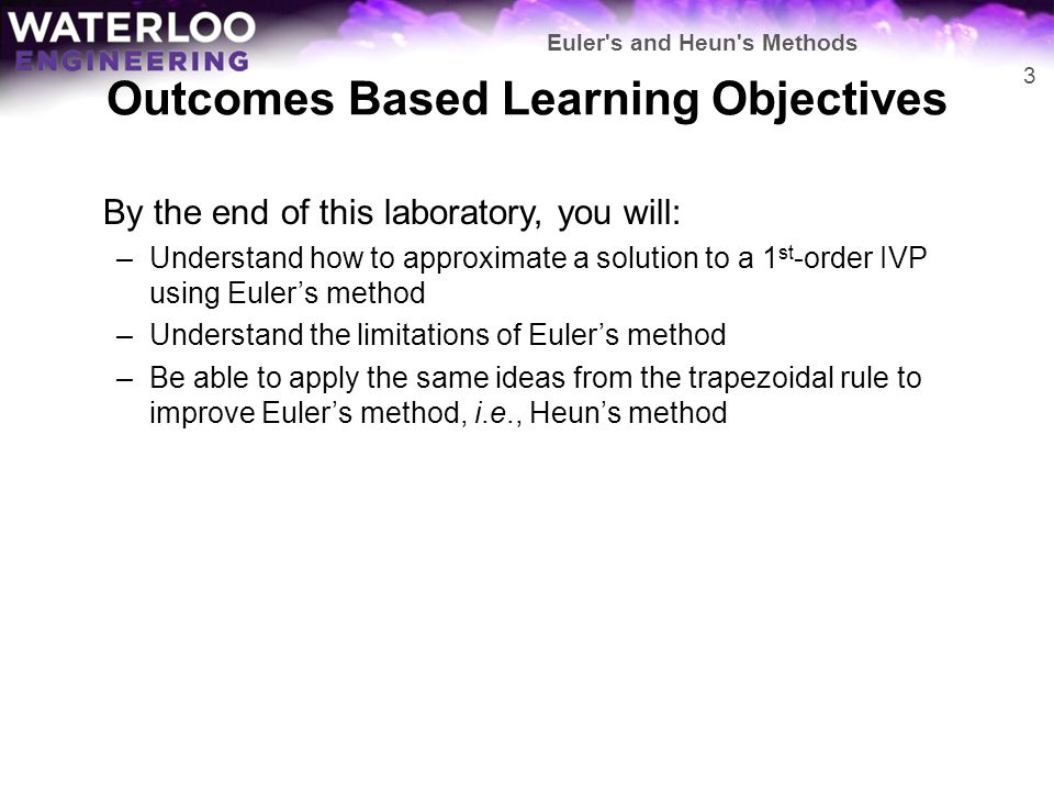 Outcomes Based Learning Objectives