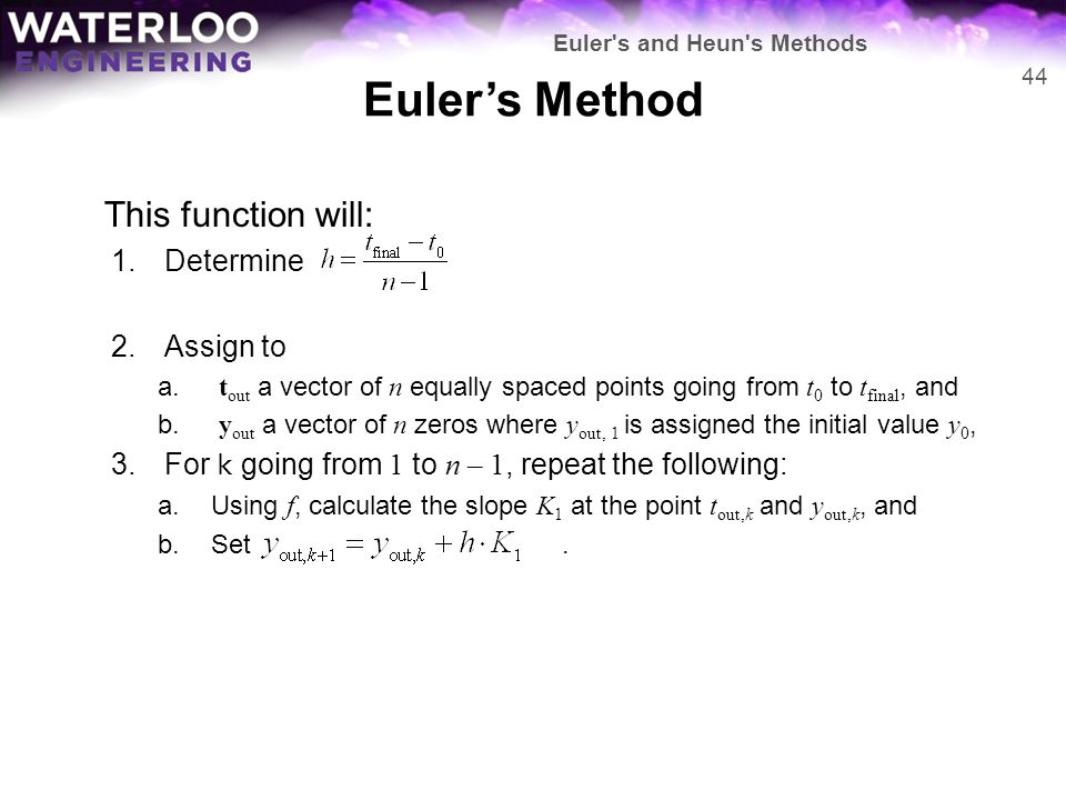 Euler's Method This function will: Determine Assign to